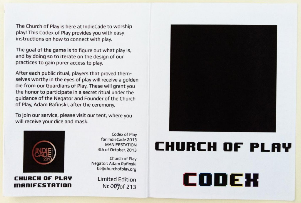 Front and Back of the first Codex of Play, as published at IndieCade 2013