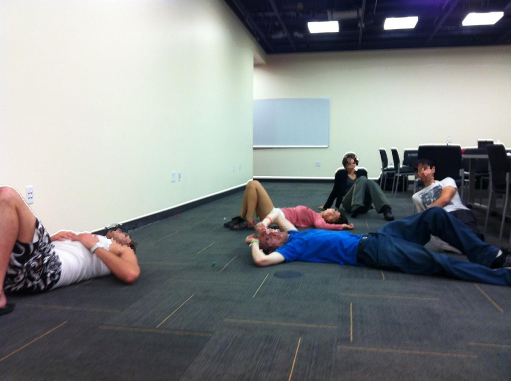 Exhausted USC students after participating in an ecstatic ritual, designed by one of the workshop participants.
